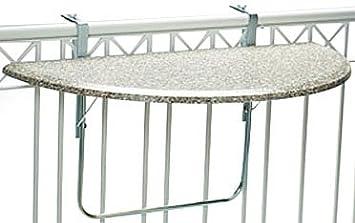 Balkonklapptisch  Amazon.de: Videx 16302 Balkonklapptisch Terrazo Design 51x102cm halbrund