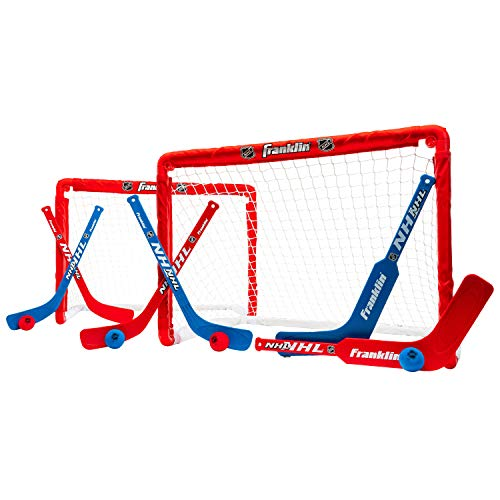 Franklin Sports Knee Hockey Goal Set of 2 - Play Mini Hockey Anytime, Anywhere -  Player and Goalie Sticks Included - Fully Collapsible - Great for Kids (Gifts Fans For Sports)