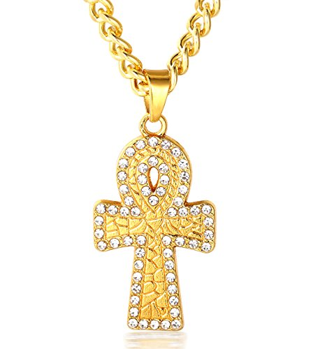 Halukakah PRAYER Men's 18k Real Gold Plated Cross Pendant Artificial Diamond Set Necklace with FREE Cuban Chain 30