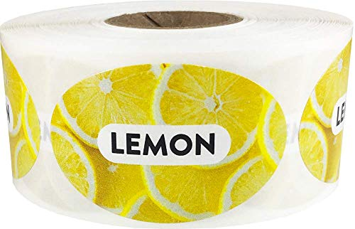 Lemon Grocery Store Food Labels 1.25 x 2 Inch Oval Shape 500 Total Adhesive Stickers ()