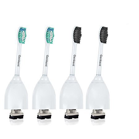 Price comparison product image Genkent Replacement Toothbrush Heads For Philips Sonicare e Series Toothbrush HX7022/66-Advance Clean Care Elite Essence Xtreme, Ultra-Soft Nylon&Bamboo Charcoal Infused Bristles (4 Pack)