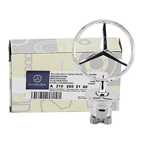 (Ruanye For Mercedes Benz Hood Star Emblem W124 W210 E Class W202 W203 C Class W204 W220 S Class 1994-2007,A 221 880 00 86;Mercedes Benz Silver 3D Logo )