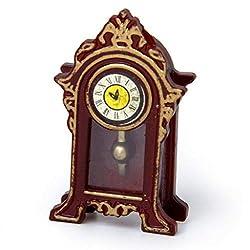 NATFUR Miniature Wooden Classical Desk Clock for 1:12 Scale Dollhouse Furniture Parts