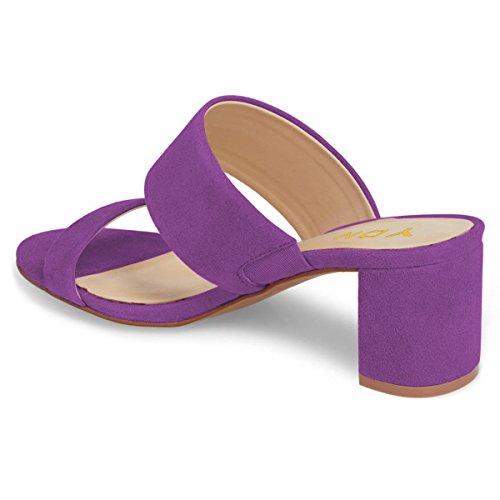 Mules Toe Women Low Shoes Purple YDN Slipper Pumps Block Sandals on Slide Open Heel Slip 1wHIq