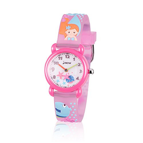 FoMass Gifts for 3-10 Year Old Boys Girls, 3D Cute Cartoon Waterproof Silicone Kids Watches Children Toddler Wrist Watches, Toys for 5-12 Year Old Boys Girls Birthday(red mermaid)