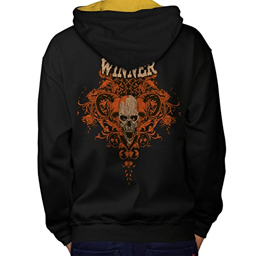 Winner Metal Goth Skull Men M Contrast Hoodie Back | Wellcoda