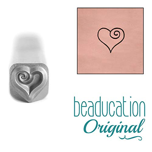 Spiral Design Stamp - Beaducation Heart Spiral Metal Design Stamp, 4.5mm Punch Stamping Tool for Hand Stamped DIY Jewelry Crafts Original Metal Design Stamps
