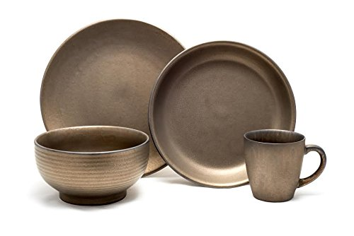 Tablescapes ME52957-16PC 16 Piece Teton Dinnerware Set, Rubbed Gold (Rustic Stoneware Dinnerware Sets)