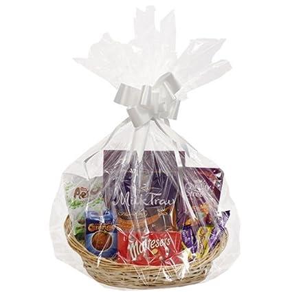Make Your Own Hamper Kit - Wicker Basket Cellophane Wood Shred Bow Set (1  Kit, Large Oval Basket - 39 x 34 x 14cm)