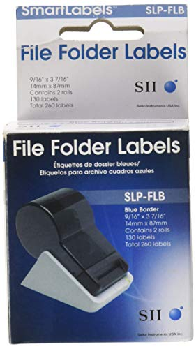 Seiko 9/16 X 3-7/16 130 Per Roll/2 Roll Box File Folder Labels (Blue)