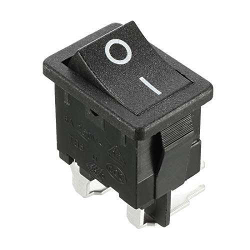 Uxcell a16121900ux0240 AC 125V/12 Amp 250V/10 Amp DPST 4P 2 Position Right Angle Rocker Safety Switch Boat On Off Button UL Listed