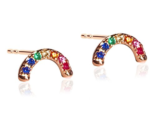 Alyssa & James Rose Gold Earrings 14K Plated with Delicate Rainbow CZ Stud Earrings for Women]()