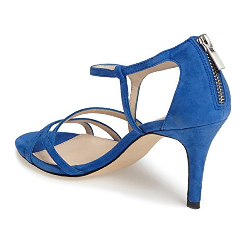 Cut Out FSJ High 15 Strappy Evening Classy Heel Party Back US Prom Sandals 4 Blue Women Shoes Size Zipper g0na0qY