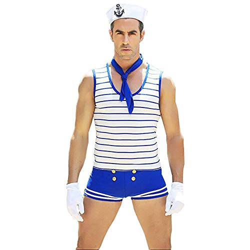 XinYiQu Mens Role Play Navy Sexy Lingerie Set Blue Stripe Costume Cosplay Sailor Uniform Outfit]()