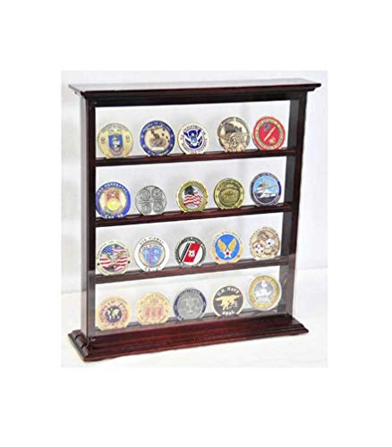 flag connections 4 Shelves Military Challenge Coin Curio Stand Rack w/UV Protection Viewing from Both Side ()