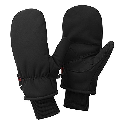 Alpine Owl Aspen Waterproof Softshell Ski Mittens Warm Winter Cold Weather Gloves (Black, Medium)