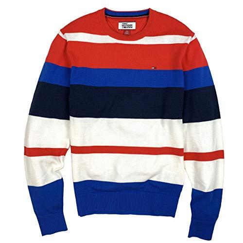 Tommy Hilfiger Men's Lightweight Bold Stripe Cotton Sweater (Medium)