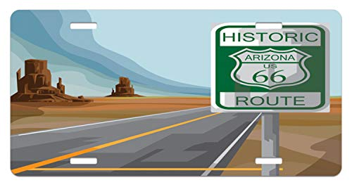 Lunarable Route 66 License Plate, Historic Route Sign Arizona Mother Road with Rock Formations Backdrop Destination, High Gloss Aluminum Novelty Plate, 5.88 L X 11.88 W Inches, Multicolor