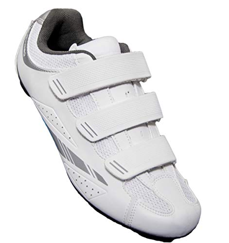 Tommaso Pista Women's Road Bike Cycling Spin Shoe Dual Cleat Compatibility - White/Silver - 42