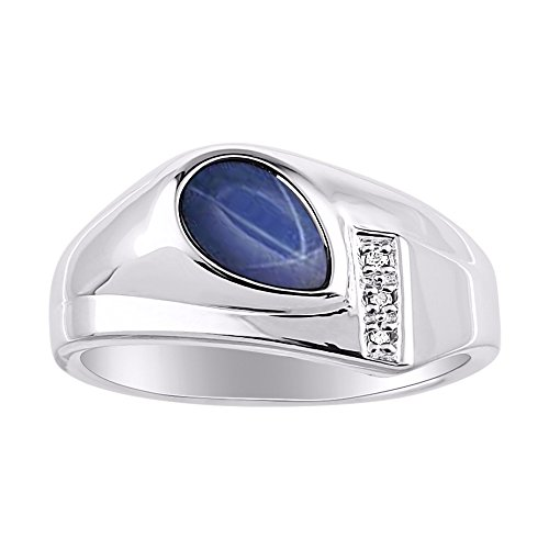 Timeless Pear Shape Blue Star Sapphire & Natural Diamond Ring Sterling Silver .925