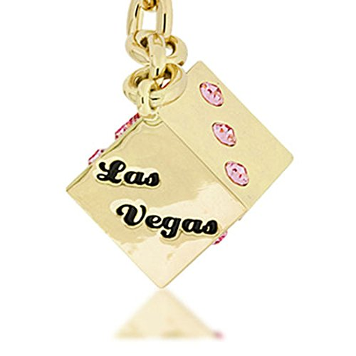 KALIFANO Pink LV Dice with Gold keychain made with Swarovski Crystals