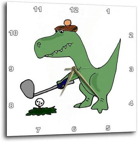 3dRose DPP_203784_1 Funny Green Trex Dinosaur Playing Golf Wall Clock