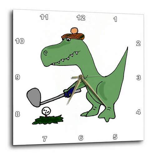 (3dRose DPP_203784_1 Funny Green Trex Dinosaur Playing Golf Wall Clock, 10 x 10)