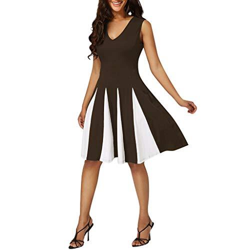 YKARITIANNA Women Plus Size Striped Sexy V-Neck Sleeveless Patchwork Party Evening Dress 2019 Summer