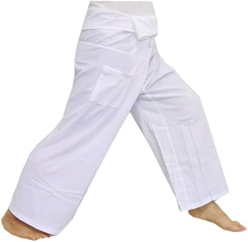 (Striped – White).!!. Thai Fisherman Pants Cotton 100% Traditional Tailoring Style Yoga Pants , Relax Pants , One Size