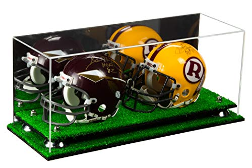 Better Display Cases 2 Mini Football Helmet Display Case (not Full Size) Clear Acrylic Plexiglass with Mirror, Silver Risers and Turf Base (A019-SR) (Double Case Football Case)