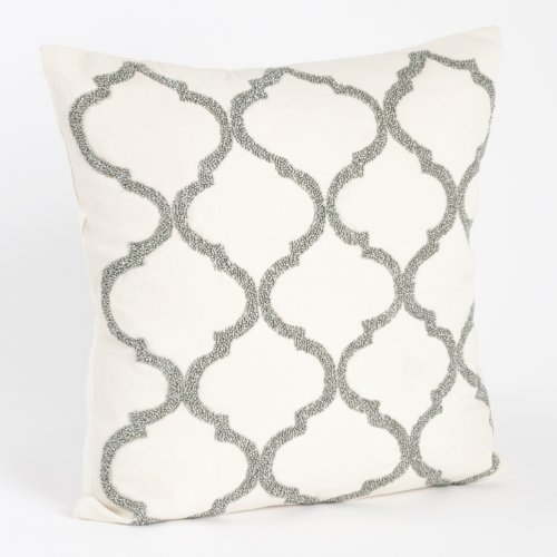 Moroccan Design Throw Pillow, Down Filler Included, 18-inch Square pewter