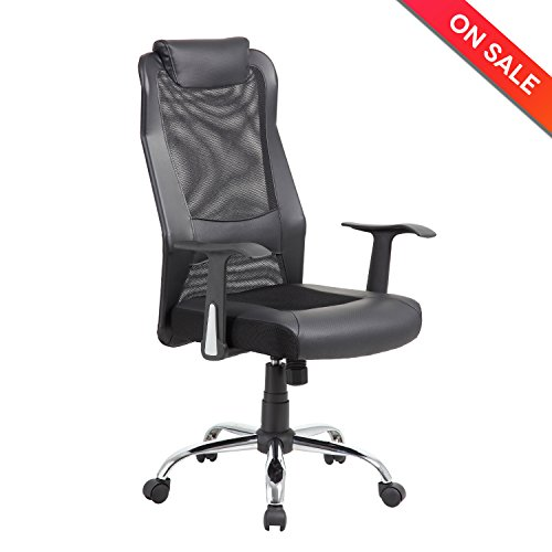lch high back mesh office chair ergonomic computer desk task chair with padded leather headrest