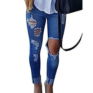 Burvogue Women Stretch Ripped Distressed Skinny Jeans Denim Pants