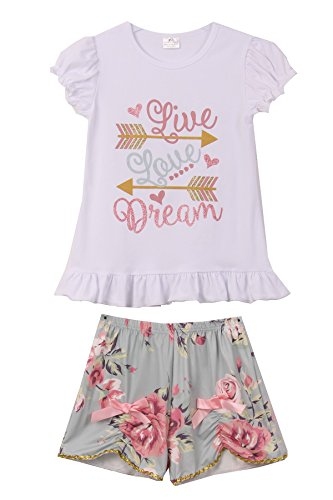 wer Shorts Set 2 Pieces Combo Pajama for Little Girl Gray 3T S 501446 ()