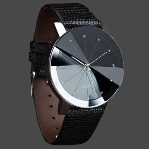 Men Luxury Stainless Steel Quartz Military Sport Leather Band Dial Wrist Watch (Movado Solar)