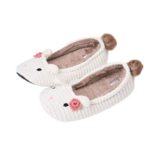GaraTia Winter Women's Super Soft Bunny Ballerina Slipper White -