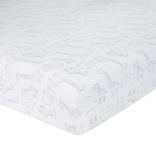 Sheets Safari Crib - Just Born Little Dreamer Crib Sheet, White, Grey Safari, One Size