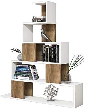 BAKAJI Libreria Design Moderno a Piramide Scaffale 4 Ripiani in Legno MDF e Struttura in Legno di Bambu Scaffalatura per Casa Ufficio Dimensione 125 x 103 x 30 cm Grigio