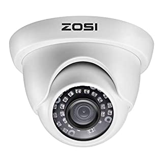 ZOSI 1080P 1920TVL Hybrid 4-in-1 TVI CVI AHD CVBS Security Surveillance CCTV 2.0MP HD Dome Camera Weatherproof 65ft IR Day Night Vision For HD-TVI, AHD, CVI, and CVBS 960H analog DVR System White