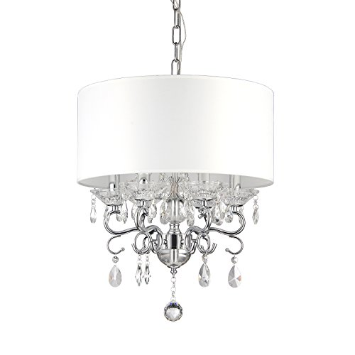 Edvivi 6-Light White Fabric Round Drum Shade Chrome Finish Crystal Chandelier Ceiling Fixture | Glam Lighting ()