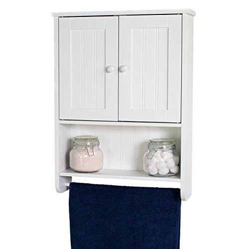 White Wall Mount Cabinet Bathroom Storage with Towel Bar