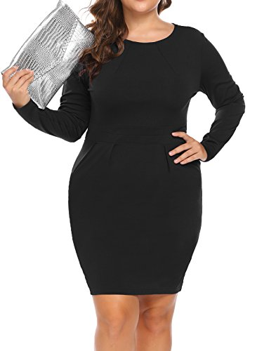 IN'VOLAND Women's Plus Size Long Sleeve Round Neck Business Dress Retro Casual Bodycon Pencil Dress Black