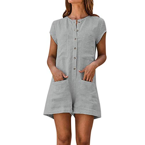 Solid Color Linen - FLOYU Button Down Romper Women Solid Color Short Sleeve Casual Summer Short Jumpsuit with Pockets Size S (US 4) (Grey)