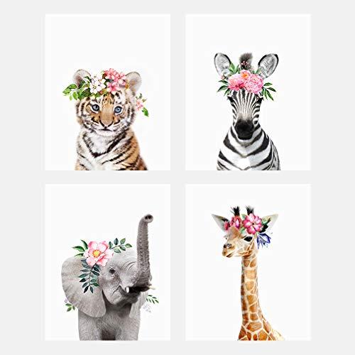 The Art Studio by Amy Peterson Baby Animals with Flower Crowns 8x10 Prints - Set of 4 - Adorable Furry Baby Animal Portrait - Tiger Cub, Elephant, Giraffe, Zebra - Nursery Decor Unframed Prints - Flower Portrait