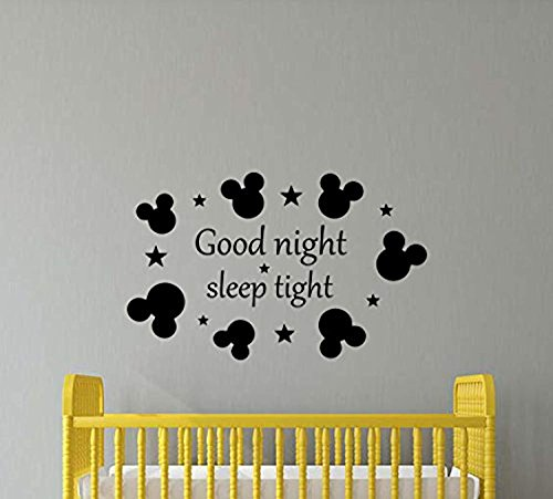 Atopdecals Good Night Sleep Tight Wall Decal Mickey Mouse Ears Disney Nursery Baby Quote Boy Girl Gift Stencil Vinyl Sticker Home Bedroom Decor Art Poster Mural Custom SW (Goodnight Sleep Tight Baby Bedding)