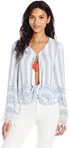 Taylor and Sage Women's Printed Gauze Wrap Top