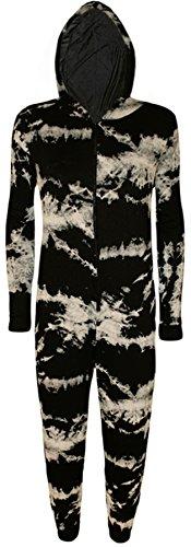 WearAll Women's Print Onesie LAdies Playsuit Long Hooded Jumpsuit - Tie Dye - US 4-6 (UK 8-10)