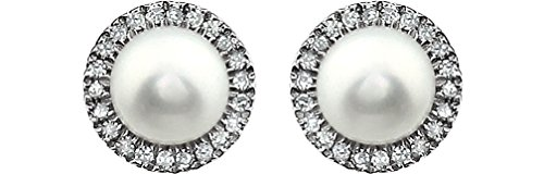 White Cultured Freshwater Pearl and Diamond Halo Button Earrings, Rhodium-Plated 14K White Gold, (5.5-6MM) (.13 Cttw, Color HIJ, Clarity I1-I2) by The Men's Jewelry Store (for HER)