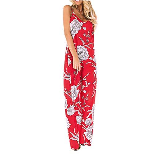 Londony✔ Women Off Shoulder Long Printed Foral Maxi Dress Spaghetti Strap Floral Print Deep V Neck Boho Long Flowy Dress Red