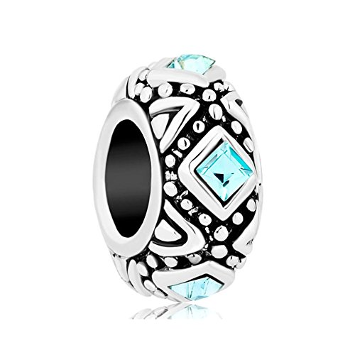 (QueenCharms Charm with Aquamarine Blue Square Crystal European Bead for Bracelet )